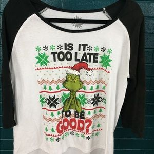 The Grinch Black + White Graphic Baseball Tee